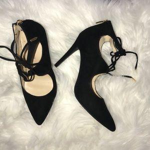 Marc Fisher Black Tie Up Heels Size 6.5